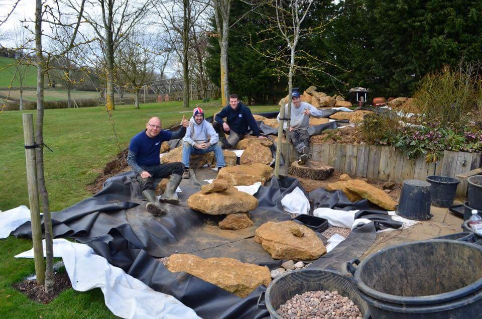 water feature building team